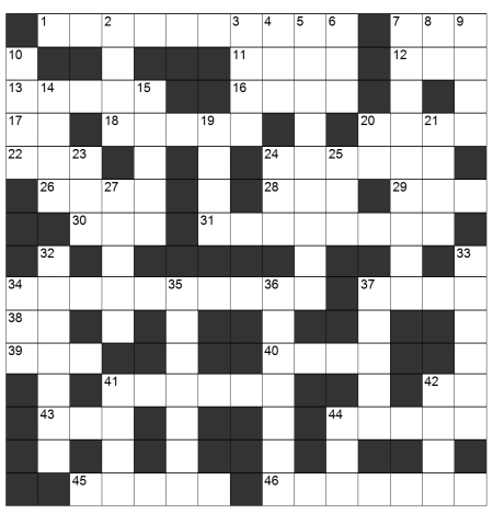 30 Feb 2013 crossword grid