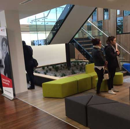 Inside the waiting room of the new RMIT teaching clinics.